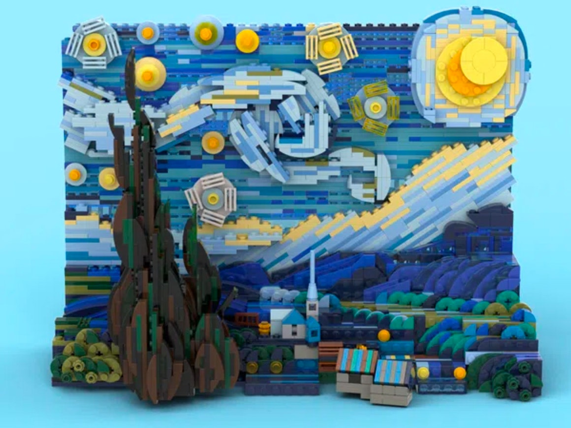 Build Starry Night Entirely Out of LEGOgh Blocks